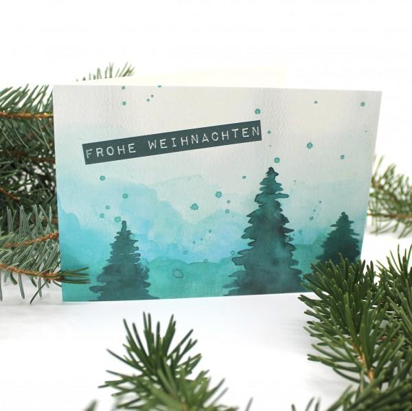 Klappkarte Weihnachten Wald