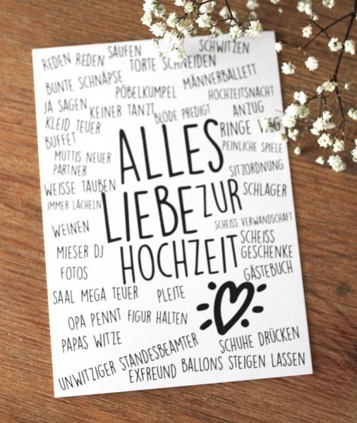 Postkarte - Alles Liebe zur Hochzeit