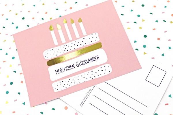 Postkarte - Geburtstagstorte